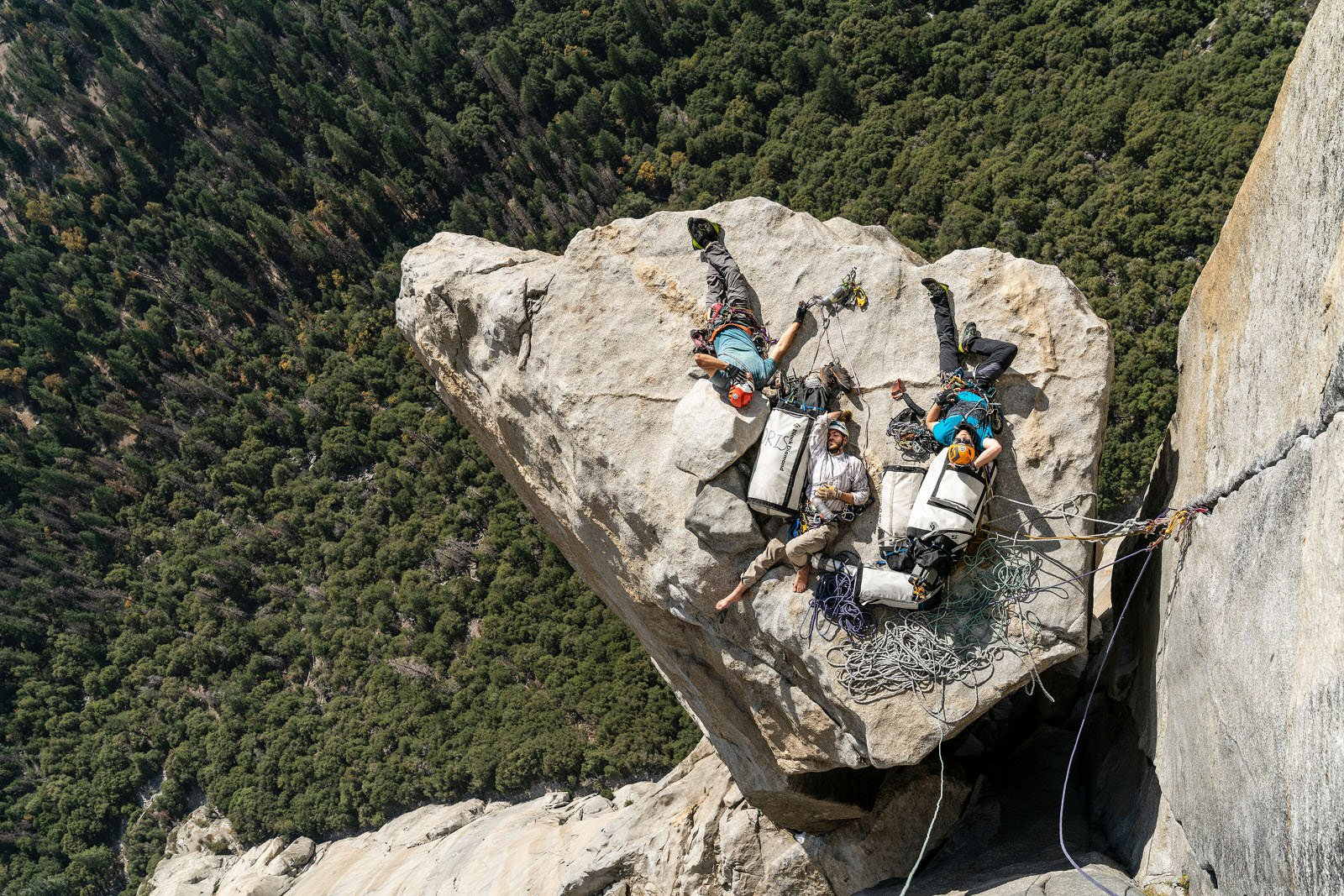 Lifestyle: Alexander Wick, Germany, for his tribute shot of Philipp Bankosegger, Chris Rudolph and Luke Lalor taking a nap by Salathé Wall, El Capitan, Yosemite National Park, USA.